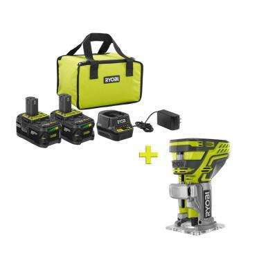 18-Volt ONE+ High Capacity 4.0 Ah Battery (2-Pack) Starter Kit with Charger and Bag with FREE ONE+ Trim Router