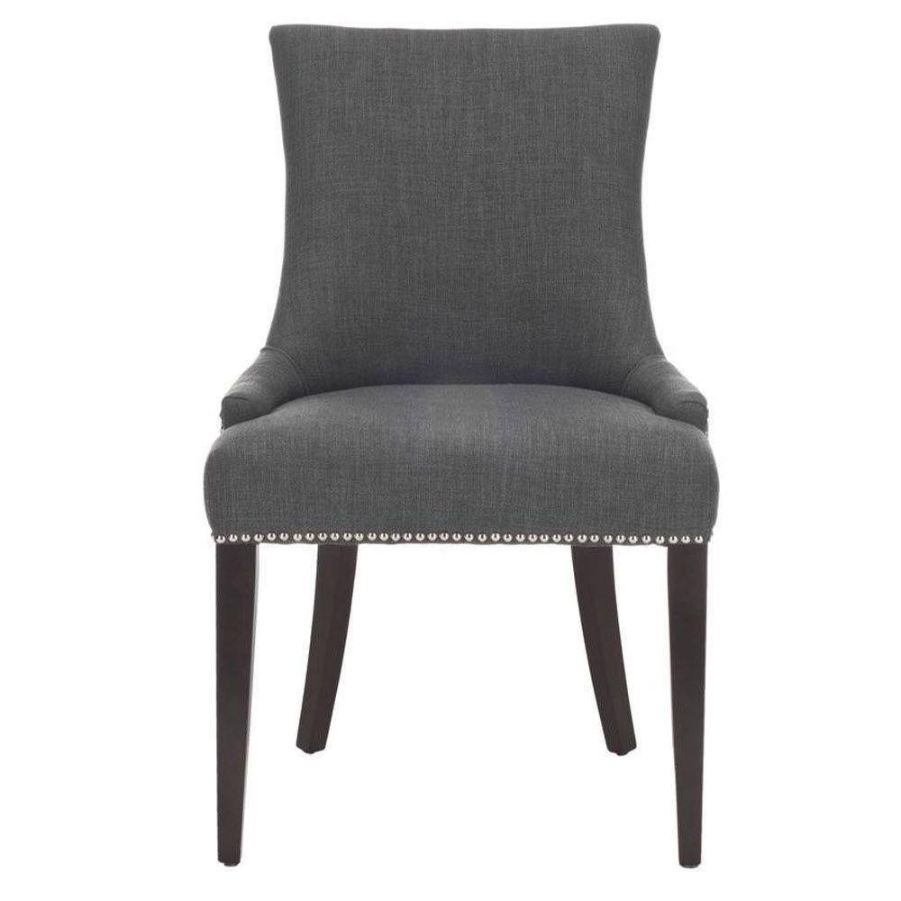 Becca Blue/Gray Linen Nailhead Dining Chair (Set of 2)