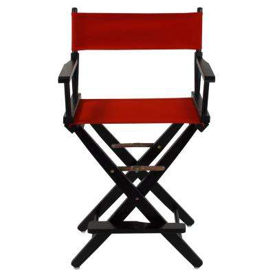 24 in. Extra-Wide Black Wood Frame/Red Canvas Seat Folding Directors Chair