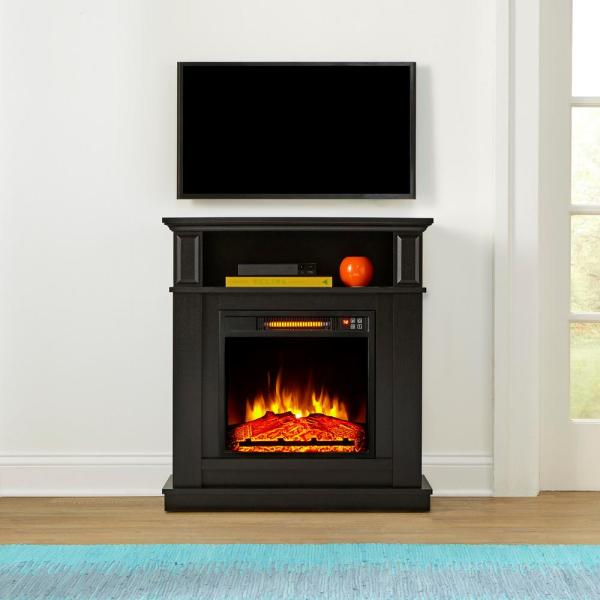 Albury 31 in. Freestanding Compact Infrared Electric Fireplace in Aged Black