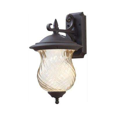 Aged Patina Outdoor Integrated LED Wall Lantern Sconce With Photocell