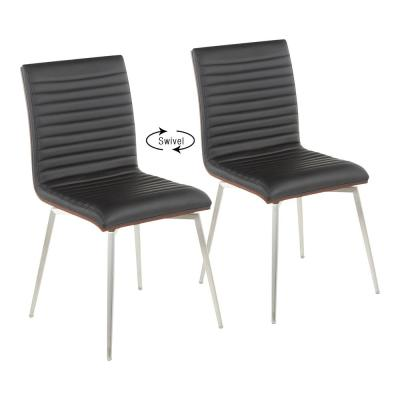 Mason Swivel Dining Chair in Black Faux Leather, Walnut Wood and Stainless Steel (Set of 2)