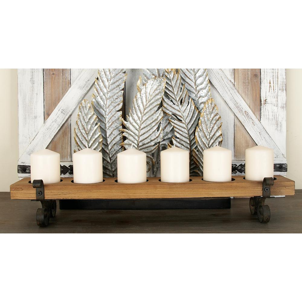 Brown iron and wood plank candle holder