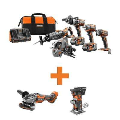18-Volt Lithium-Ion Cordless 5-Tool Combo w/Bonus OCTANE Brushless Angle Grinder & OCTANE Brushless Fixed Base Router