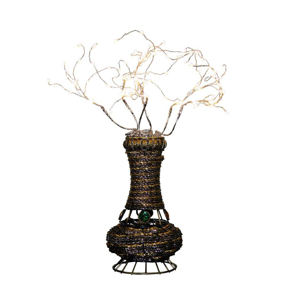 Ore international 20 in h copper tree wire table lamp with white h copper tree wire table lamp with white led greentooth Choice Image