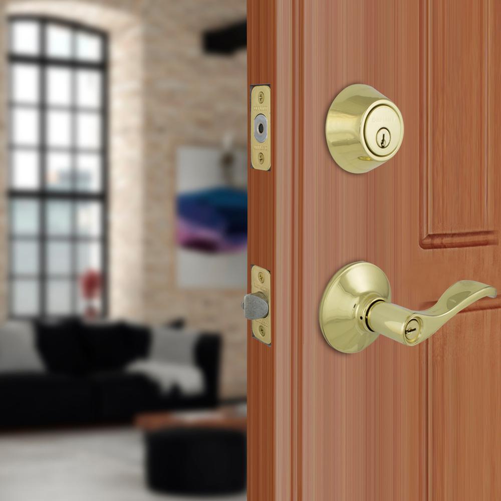 Naples Polished Brass Keyed Entry Door Lever with Single Cylinder Deadbolt Combo Pack
