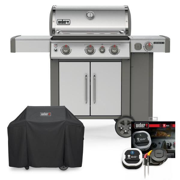 Genesis II S-335 Liquid Propane Grill Combo with Cover and iGrill 3