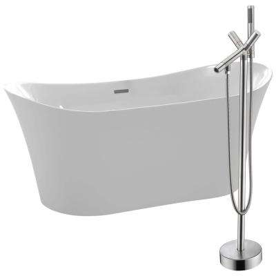Eft 67 in. Acrylic Flatbottom Non-Whirlpool Bathtub in White with Havasu Faucet in Brushed Nickel