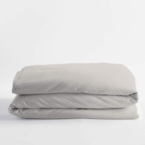 Legends Luxury Solid Sterling Gray Cotton Sateen Twin Duvet Cover