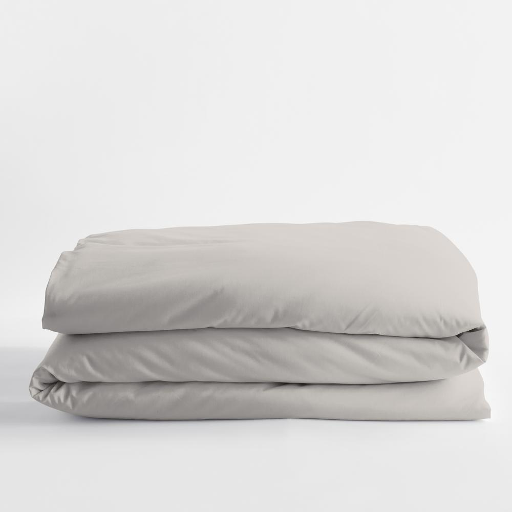 Legends Luxury Solid Sterling Gray Cotton Sateen Oversized Queen Duvet Cover