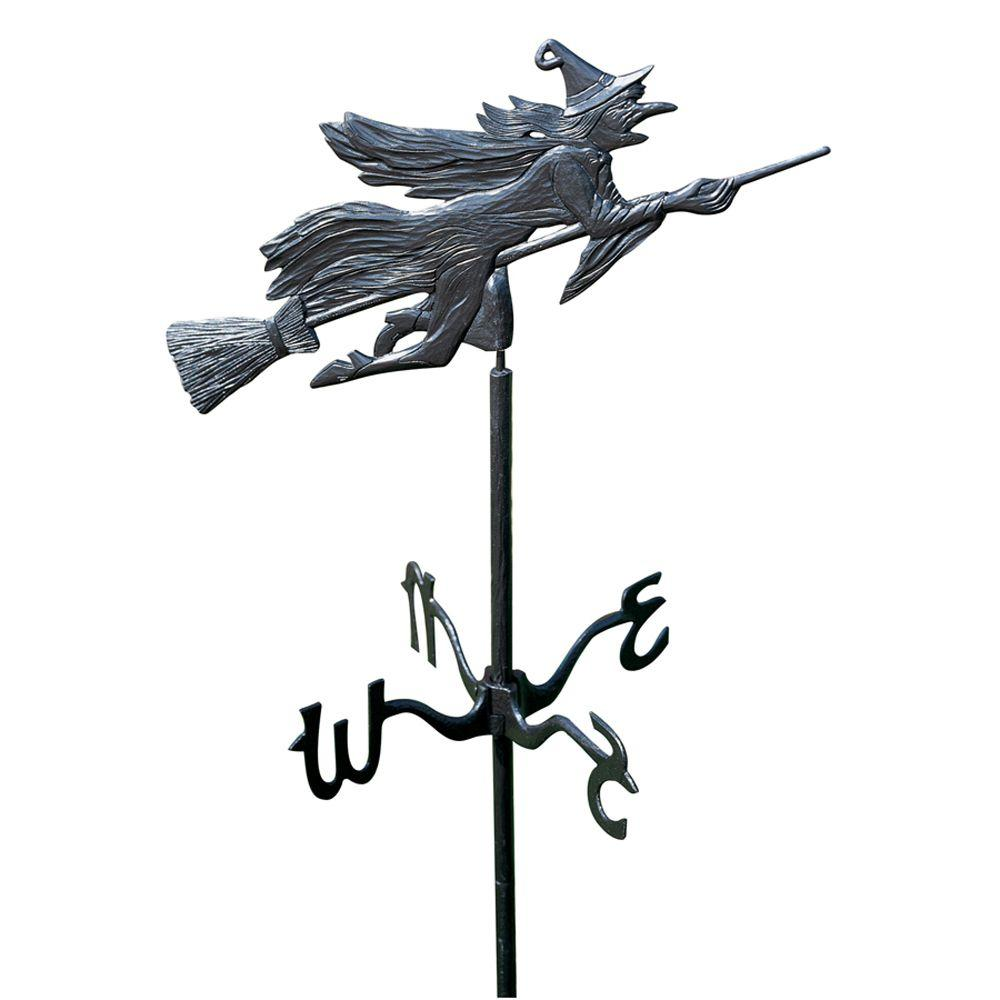 Whitehall Products Black Flying Witch Garden Weathervane