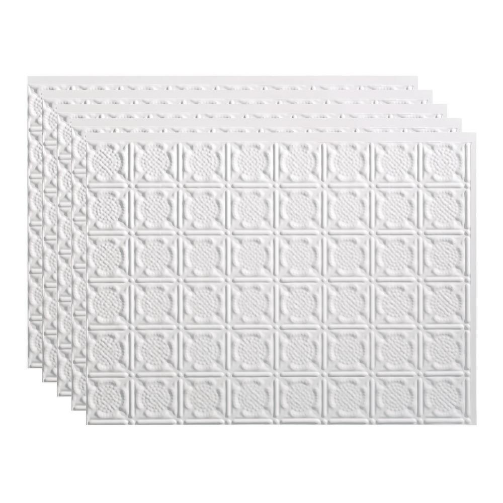 Traditional 6 18 in. x 24 in. Matte White Vinyl Decorative Wall Tile Backsplash 15 sq. ft. Kit