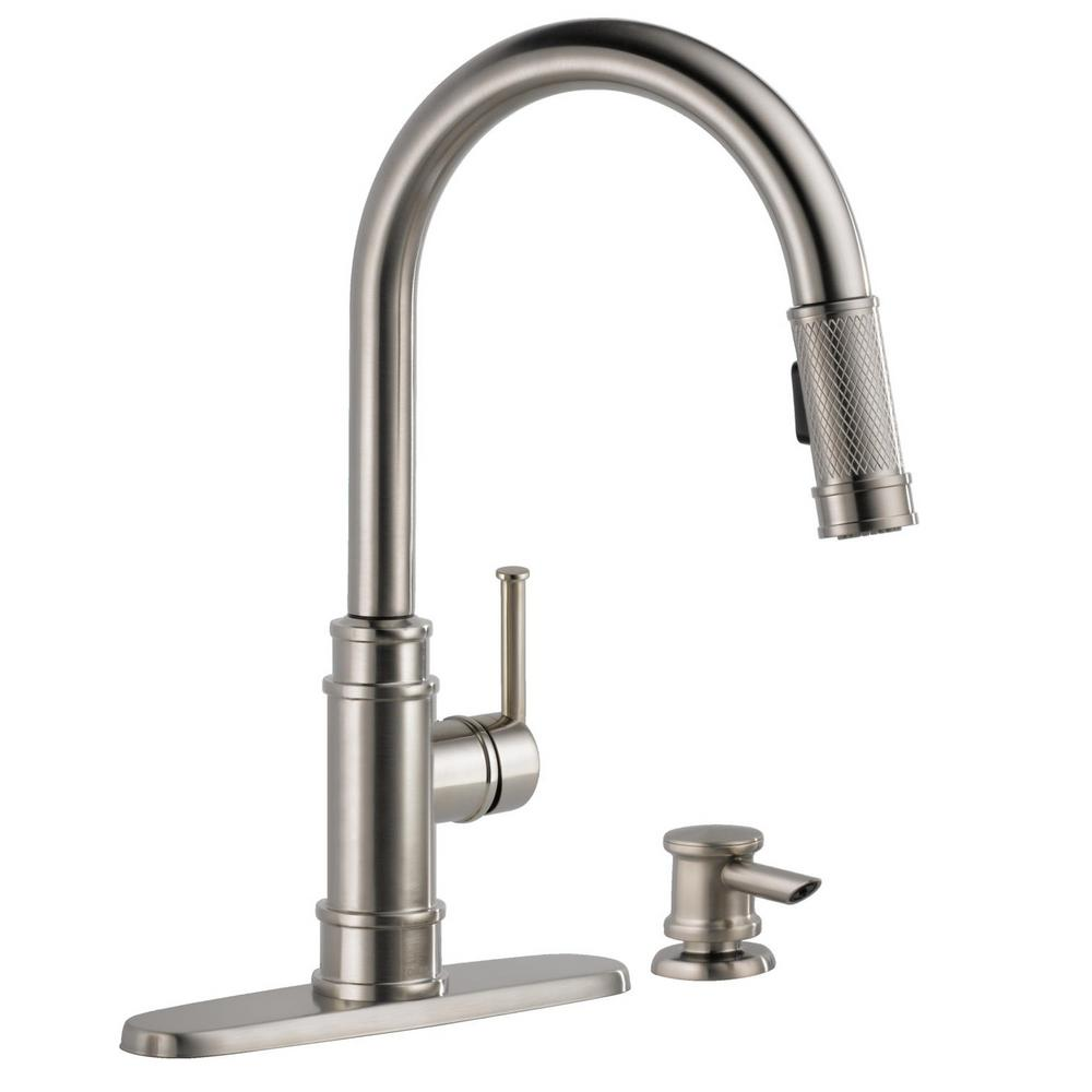 Delta Allentown Single-Handle Pull-Down Sprayer Kitchen Faucet with Soap in  SpotShield Stainless
