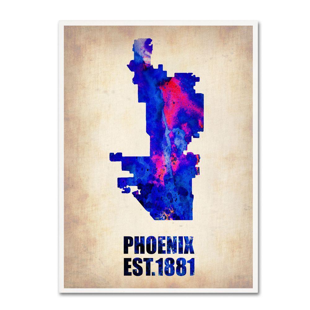 32 in. x 24 in. Phoenix Watercolor Map Canvas Art