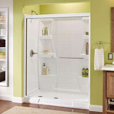 Simplicity 60 in. x 70 in. Semi-Frameless Sliding Shower Door in White with Nickel Handle and Clear Glass