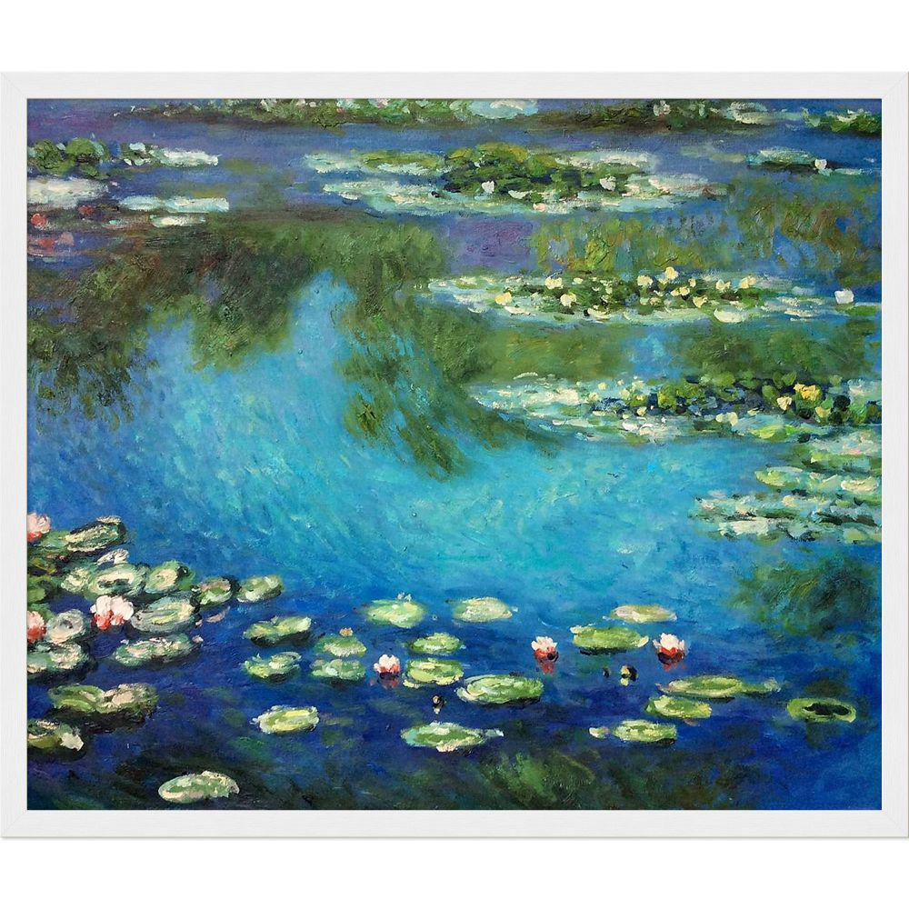 LA PASTICHE Water Lilies with Studio White Wood Frameby Claude Monet Oil Painting, Multi-Colored was $943.0 now $371.56 (61.0% off)