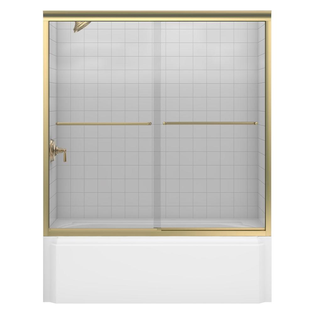 KOHLER Fluence 60 in. x 58-5/16 in. Semi-Frameless Sliding Bathtub ...