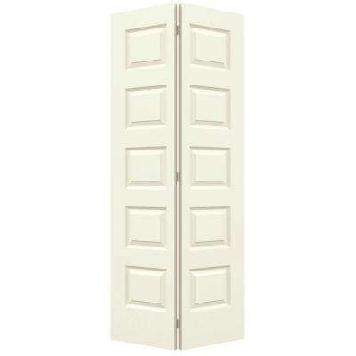 36 in. x 80 in. Rockport Vanilla Painted Smooth Molded Composite MDF Closet Bi-fold Door