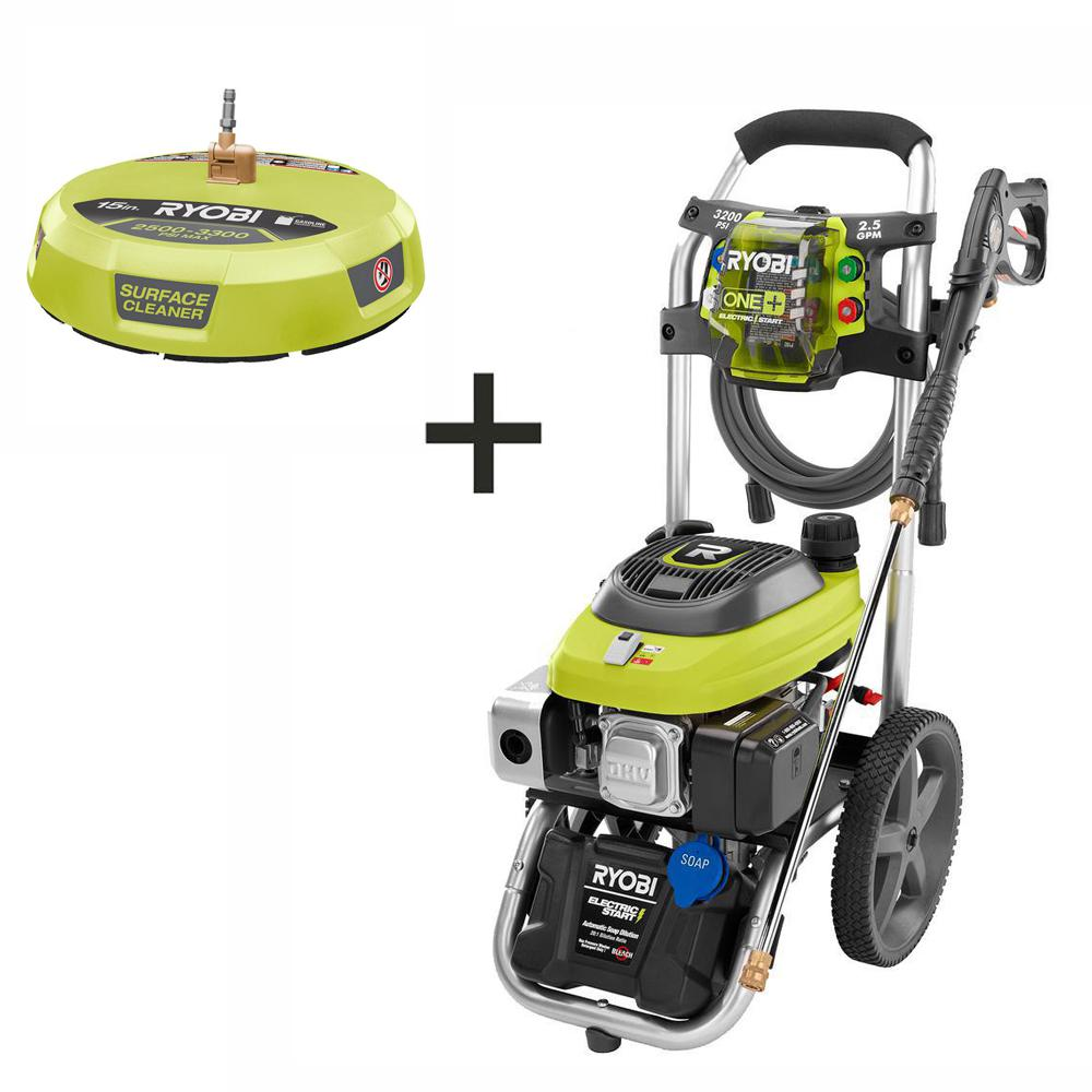 RYOBI 3,200 PSI 2.5 GPM ONE+ 18-Volt Electric Start Gas Pressure Washer with 15 in. Surface Cleaner