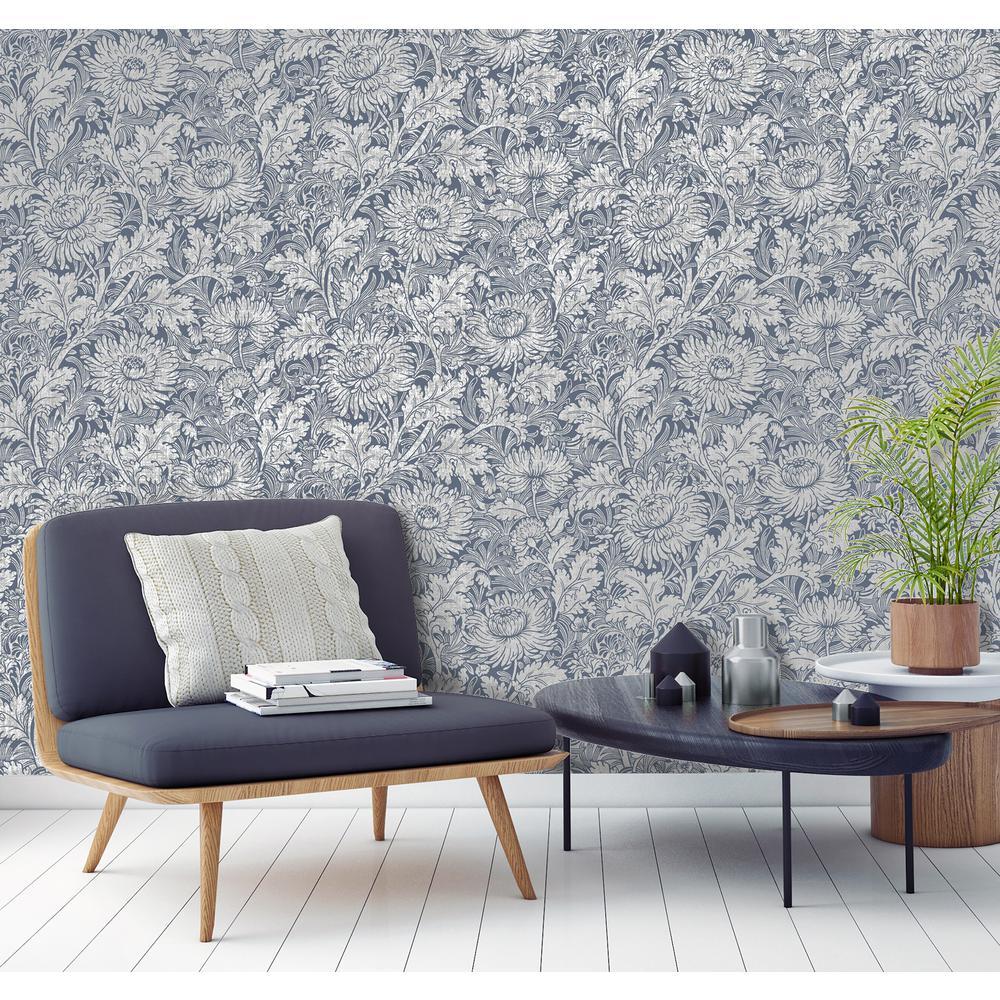 Zinnia Blue Floral Wallpaper