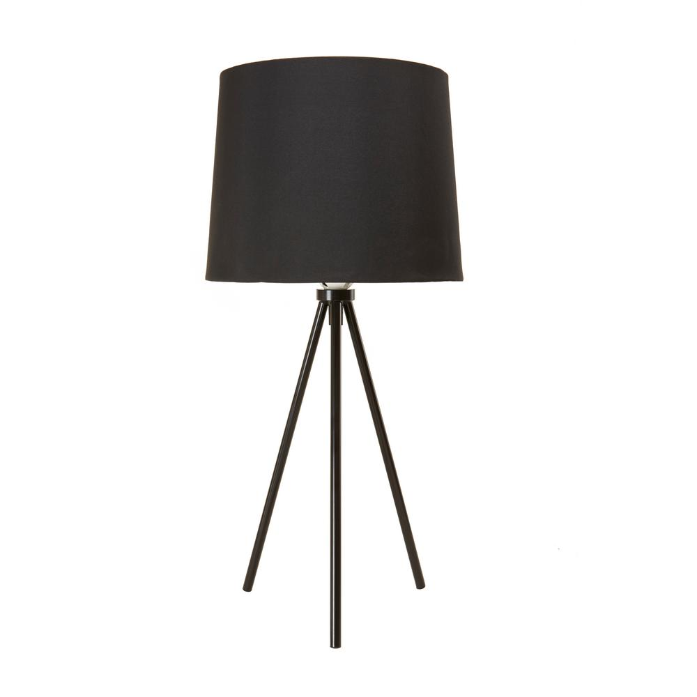 Newhouse Lighting 19.5 in. Black Tripod Table Lamp With Black Lamp Shade and E26 Light Socket