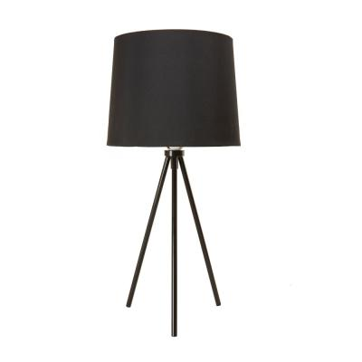 19.5 in. Black Tripod Table Lamp With Black Lamp Shade and E26 Light Socket
