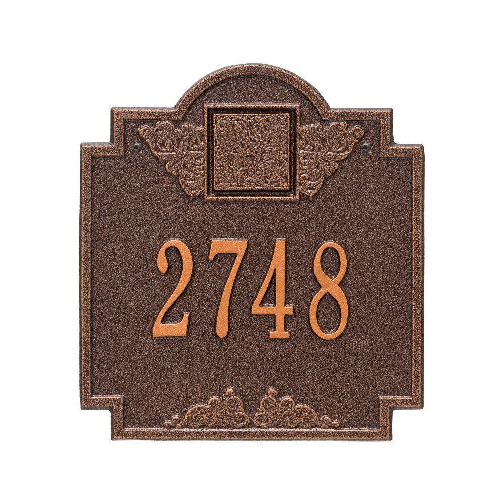 Monogram Standard Square Antique Copper Wall 1-Line Address Plaque