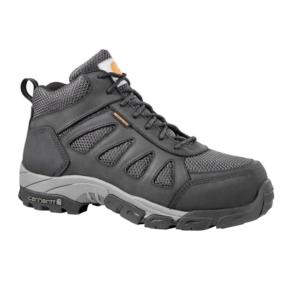 Carhartt Men's 014W Black Leather and Black Nylon Waterproof Carbon Nano Safety Toe 4 in. Lightweight Work Hiker