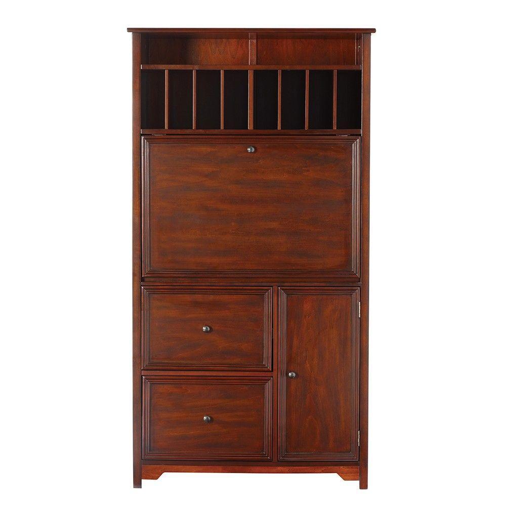32 in. Chestnut Rectangular 2 -Drawer Secretary Desk with File Storage