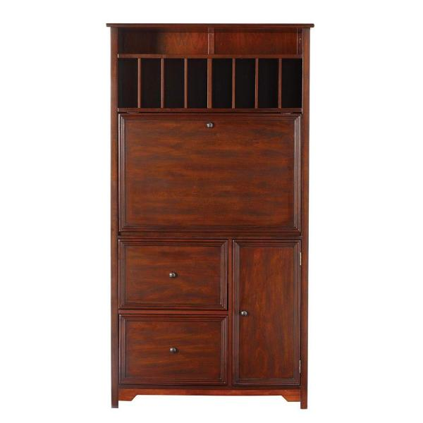 32 in. Rectangular Chestnut 2 Drawer Secretary Desk with Solid Wood Material