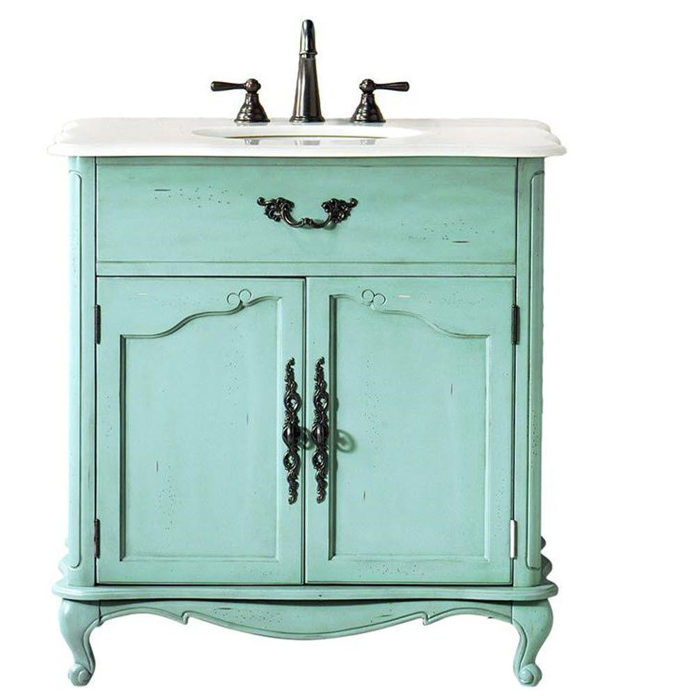 Home Decorators Collection Provence 33 In W X 22 In D Bath Vanity In Blue With Natural Marble