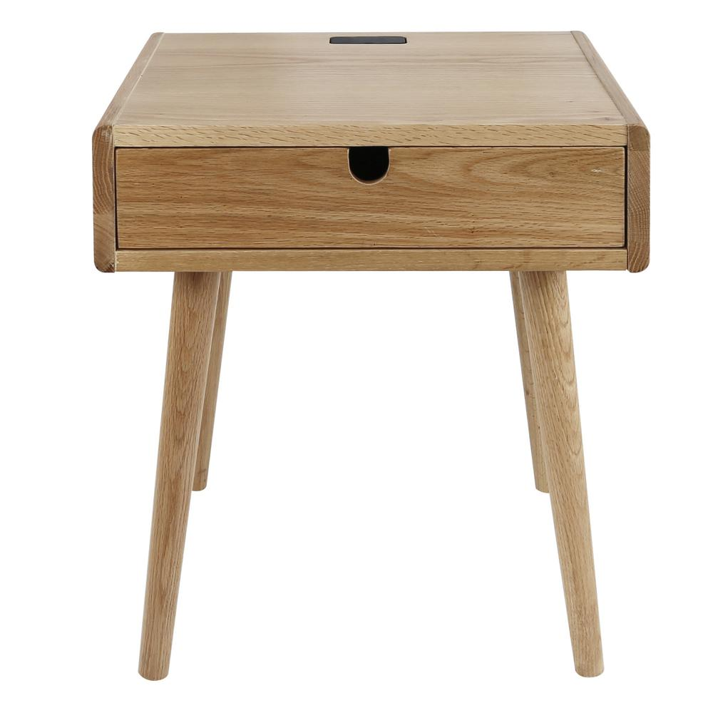 Attrayant American Trails Freedom Natural USB Port Solid American Oak Nightstand/End  Table