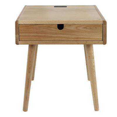 Freedom Natural USB Port Solid American Oak Nightstand/End Table