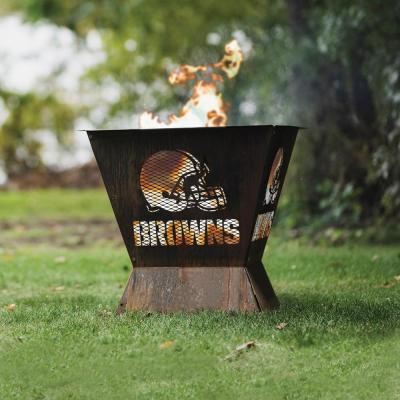 Badlands NFL 29.5 in. x 26 in. Square Steel Wood Fire Pit - Cleveland Browns