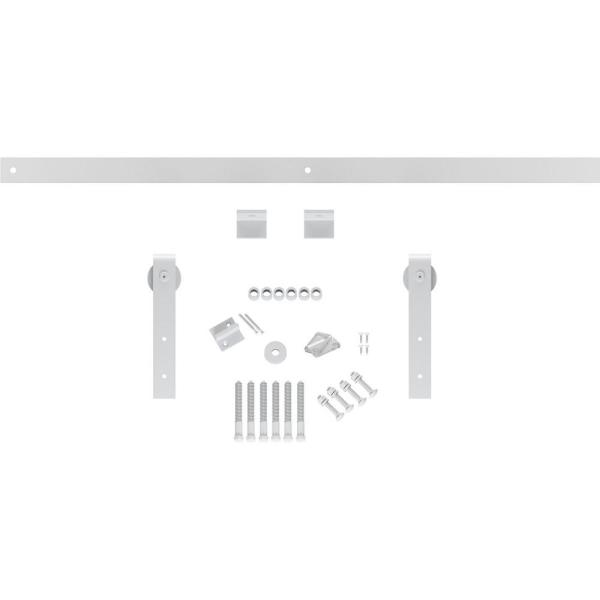 Goldberg Brothers Inc 1 1 2 In X 64 In X 11 1 2 In Steel Premium J Strap Barn Door Hardware Set Moulding Rocket White Gb60014h54rw The Home Depot