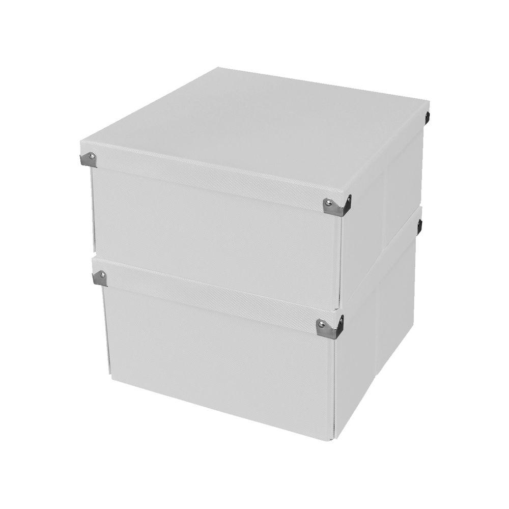 Medium Square Box with Lid in White (2-Pack)
