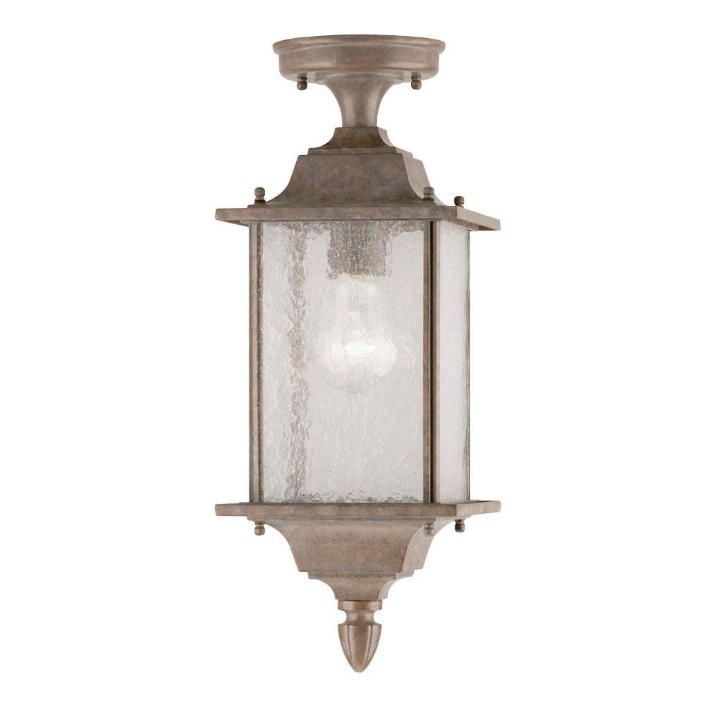 Westinghouse 1-Light Burnt Sienna Aluminum Dual-Mount Exterior Pendant with Clear Seeded Glass Panels