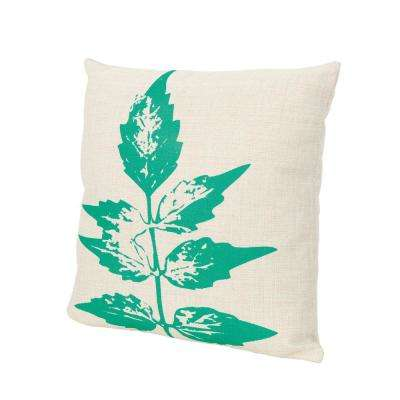 Sherman Beige and Green Square Outdoor Throw Pillow
