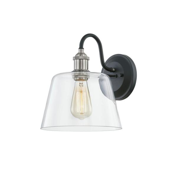 Home Decorators Collection Sherman 9 In 1 Light Black Wall Sconce With Nickel Accents And Clear Glass Hd 1853 I The Home Depot