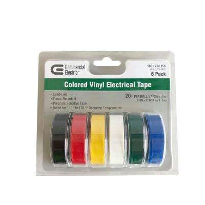1/2 in. x 20 ft. Electric Tape, Multi-Color (6-Pack)