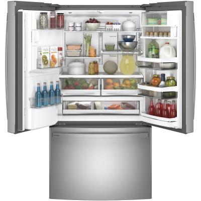 Profile 22.1 cu. ft. French Door Refrigerator with Autofill in Fingerprint Resistant Stainless Steel, Counter Depth