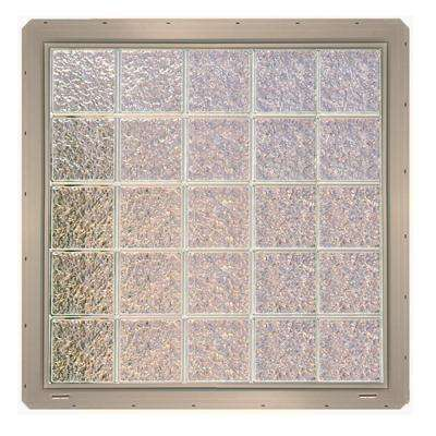 39.25 in. x 39.25 in. x 3.25 in. Ice Pattern Glass Block Window with Clay Colored Vinyl Nailing Fin