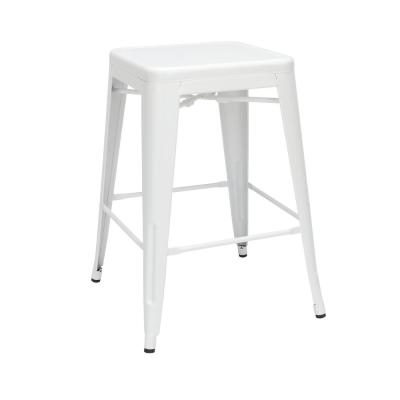 161 Collection Industrial Modern 4-Pack Fully Assembled 26 in. White Backless Metal Indoor/Outdoor Bar Stools