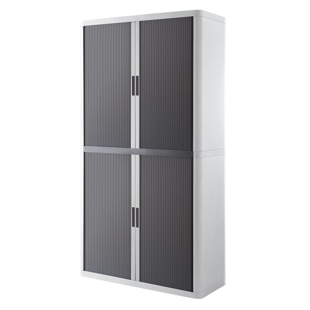 Paperflow easyoffice white and antracite 80 in tall storage cabinet with