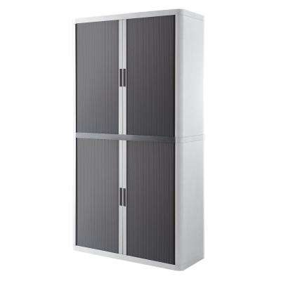 Paperflow easyOffice White and Antracite 80 in. Tall Storage Cabinet with 4-Shelves