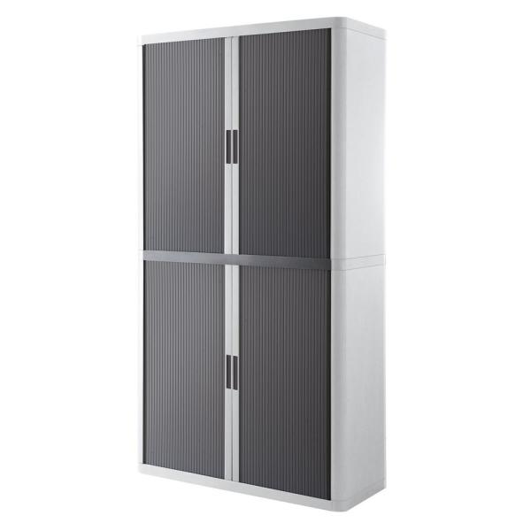 Paperflow easyOffice White and Antracite 80 in. Tall Storage Cabinet with