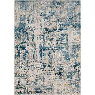 Fortunata Blue 2 ft. x 3 ft. Abstract Area Rug