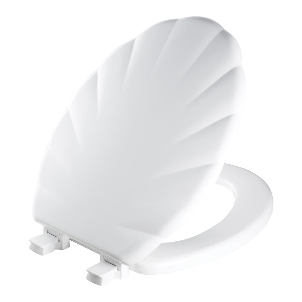Mayfair Sculptured Shell Lift-Off Elongated Closed Front Toilet Seat in White