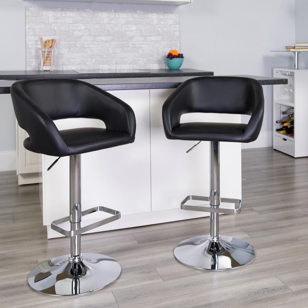 Flash Furniture 32 in. Adjustable Height Black Cushioned Bar Stool CH122070BK