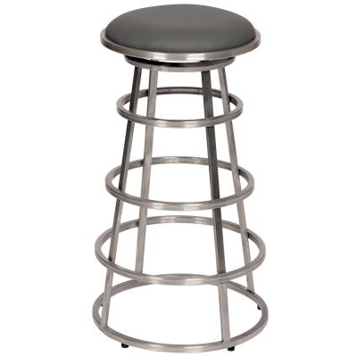 Ringo 26 in. Gray Faux Leather and Brushed Stainless Steel Finish Backless Barstool
